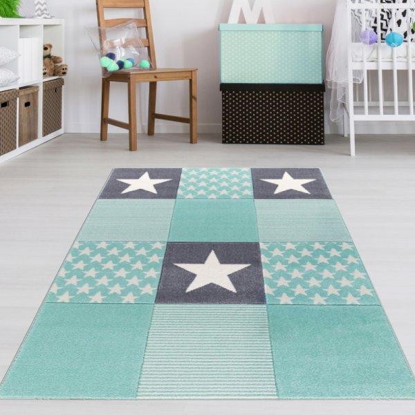 Kinderteppich Sterne Muster Mint