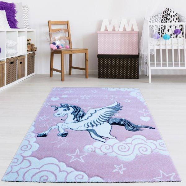 Kinderteppich Einhorn Hell Pink 120 x 170cm