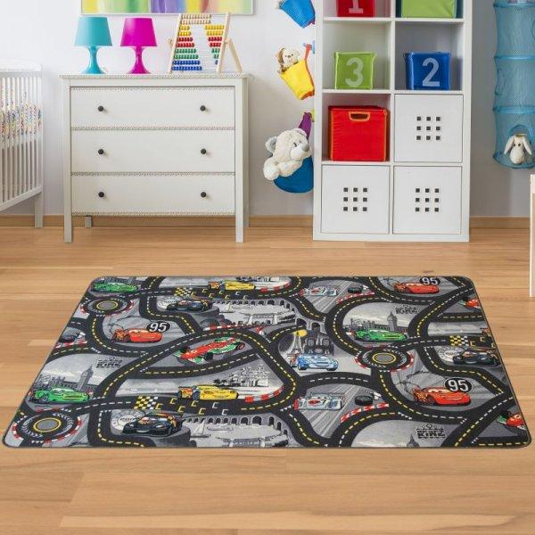 Kinderteppich Cars Grau - Spielteppich mit Rennstrecke