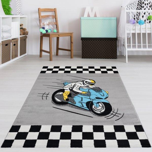 Kinderteppich Motorrad Grau Blau