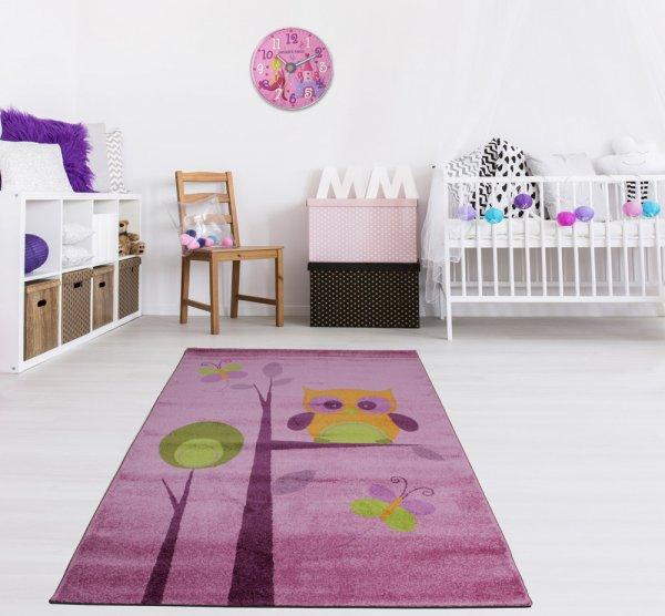 Kinderteppich 160 x 230 cm Eule Pink Bunt