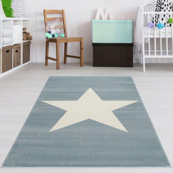 Kinderteppich Stern Blau Weiß Velour