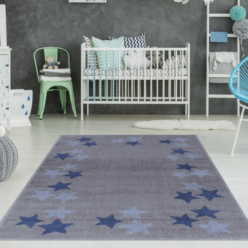 Kinderzimmer Teppich Grau Blau Sterne Teppich4kids