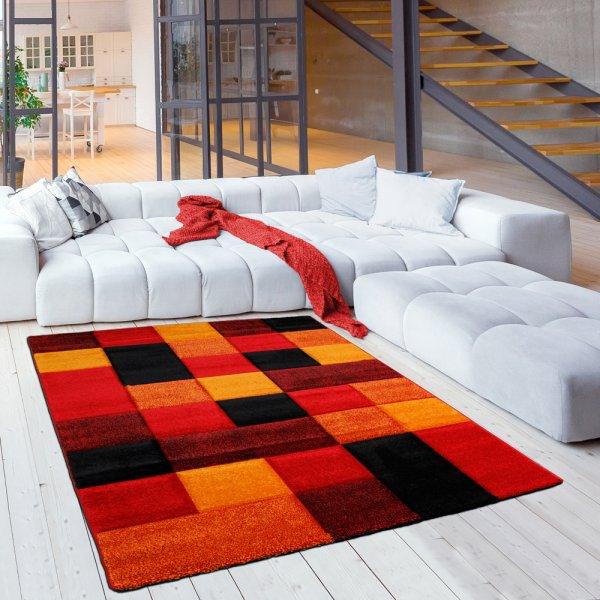 Jugendzimmer Teppich Karomuster Rot Orange