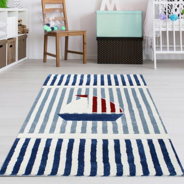 Kinderteppich mit Segelboot Blau Weiß