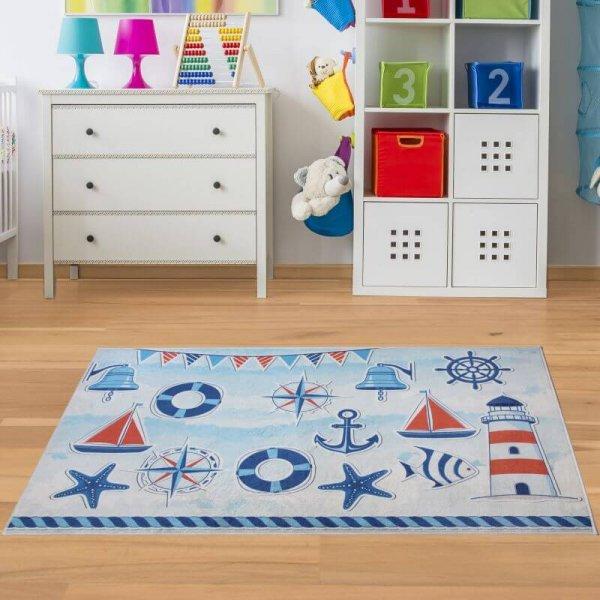 Kinderteppich Maritim Weiß Blau - Waschbar & Rutschfest