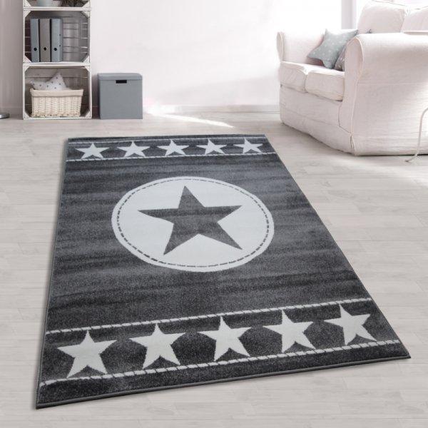 Jugendzimmer Teppich Sterne Grau