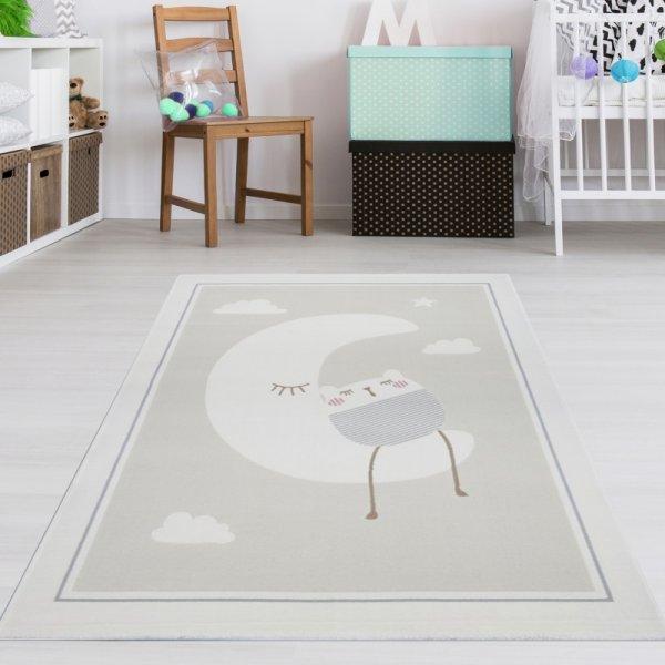 Kinderteppich Mond & Katze Beige Grau Creme Weiß