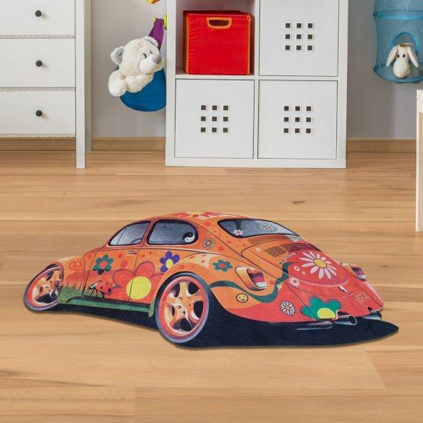 Kinderteppich VW-Käfer mit Blumen Orange