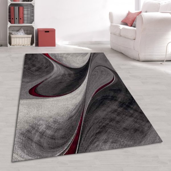 Designer Jugend Teppich Abstrakt Grau Rot