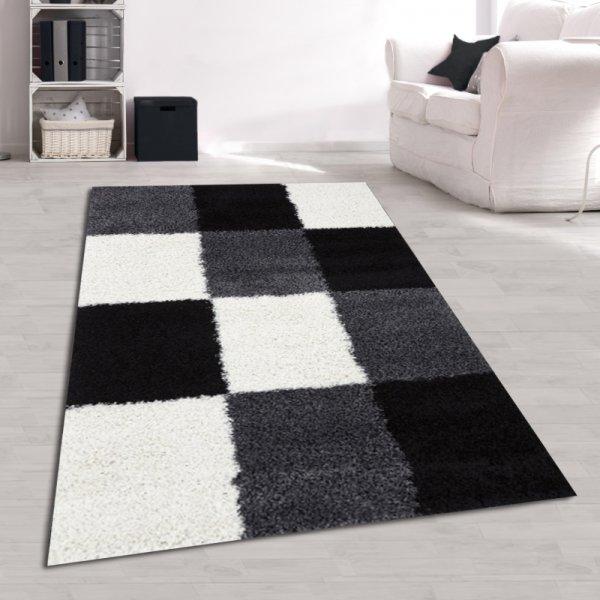 Jugendzimmer Teppich Karo Grau Schwarz Weiß Hochflor