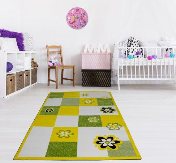 Kinderteppich 160 x 230 cm Blume Gelb Grün Weiß