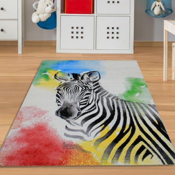 Kinderteppich mit Zebra Bunt