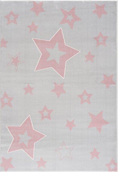 Kinderteppich Sternenhimmel Grau Rosa
