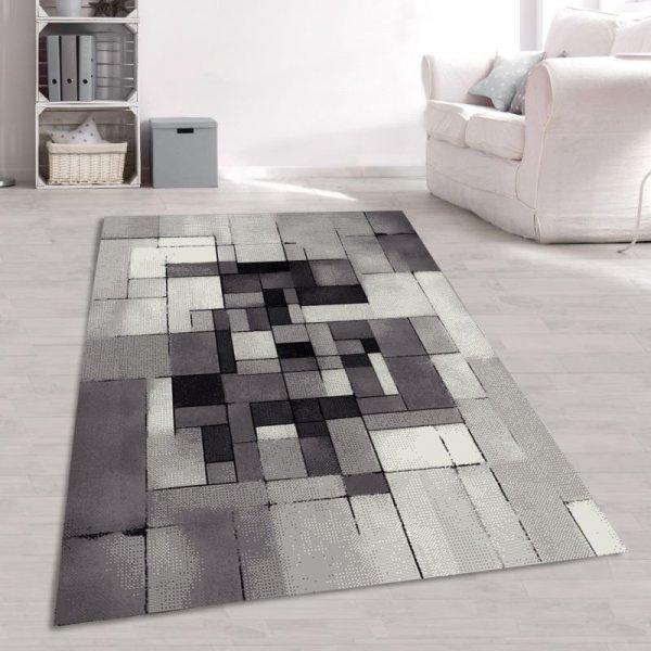 Moderner Jugendteppich Quadrate & Rechtecke Grau