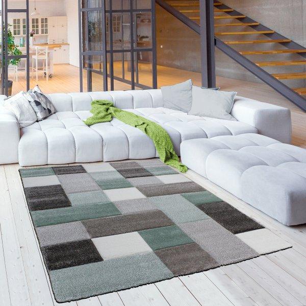 Jugendzimmer Teppich Karo Pastell Grün Braun Weiß