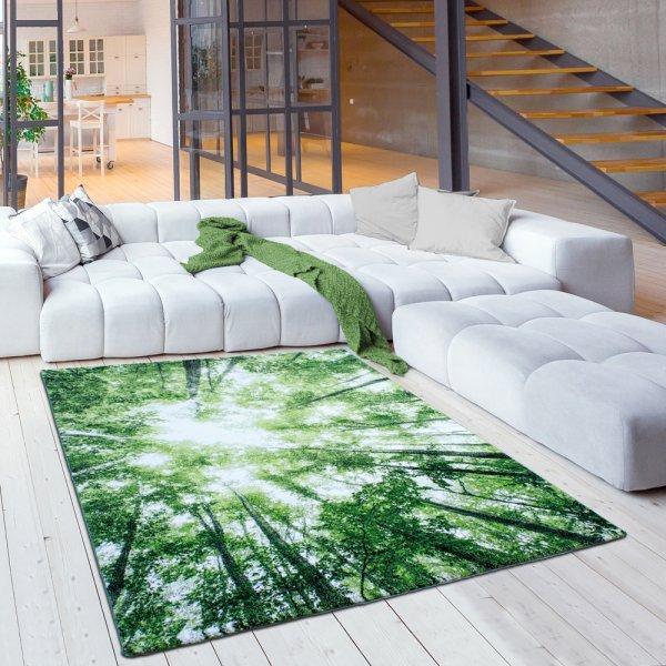 Grüne Bäume Wald Designer Kurzflorteppich