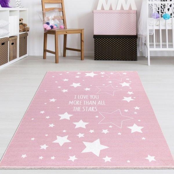 Rosa Kinderteppich mit Sternen