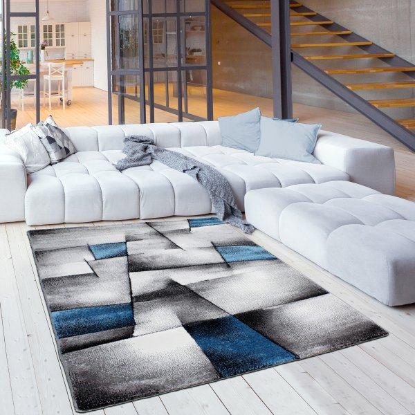 Designer Teppich Abstrakt Kariert Grau Türkis