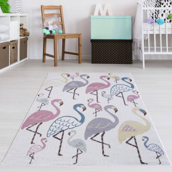 Kinderteppich Flamingos Pastell Multicolor