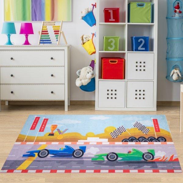 Kinderteppich Autos Straßen Waschbar & Rutschfest
