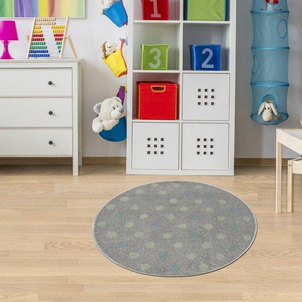 Kinderteppich Rund Grau Blaue Konfetti Punkte