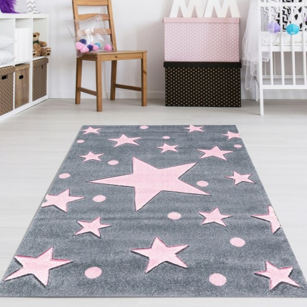 Kinderzimmer Teppich Sterne Grau Rosa | Teppich4Kids