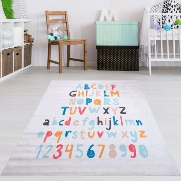ABC Spielteppich Weiß Zahlen Buchstaben Waschbar & Rutschfest