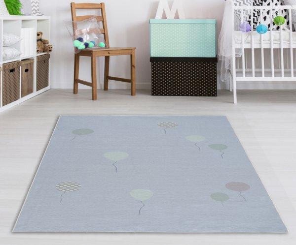 Kinderteppich Happy Rugs BALOON blau,Waschbar 90x160 cm