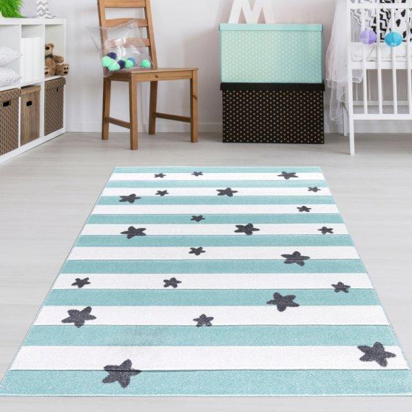 Kinderteppich Mint Sterne & Streifen