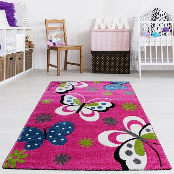 Kinderteppich Schmetterling Pink