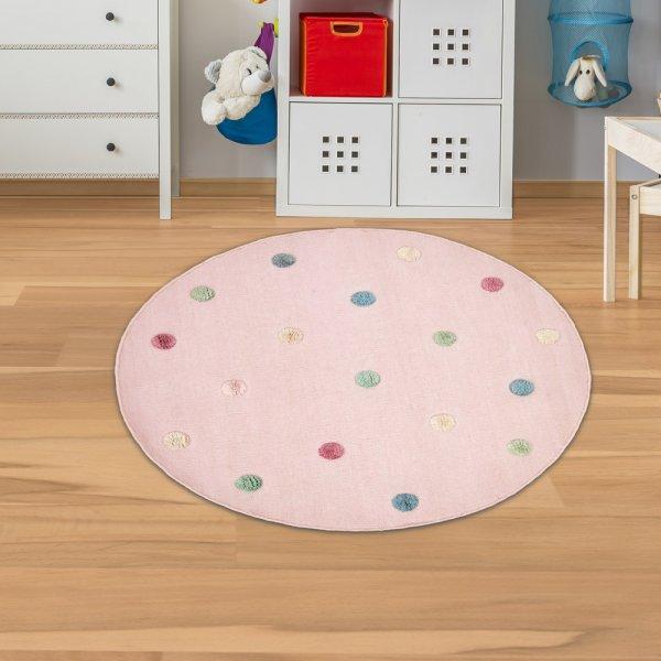 Handgewebter Teppich für Kinderzimmer Rosa Rund