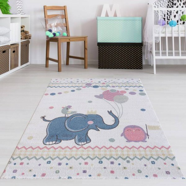 Kinderteppich Elefant Blau Rosa Weiß Pastell