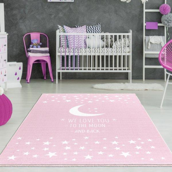 Kinderteppich Mädchen Mond & Sterne Rosa