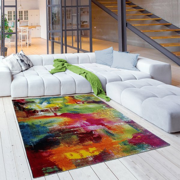 Designer Jugend Teppich Aquarell Bunt