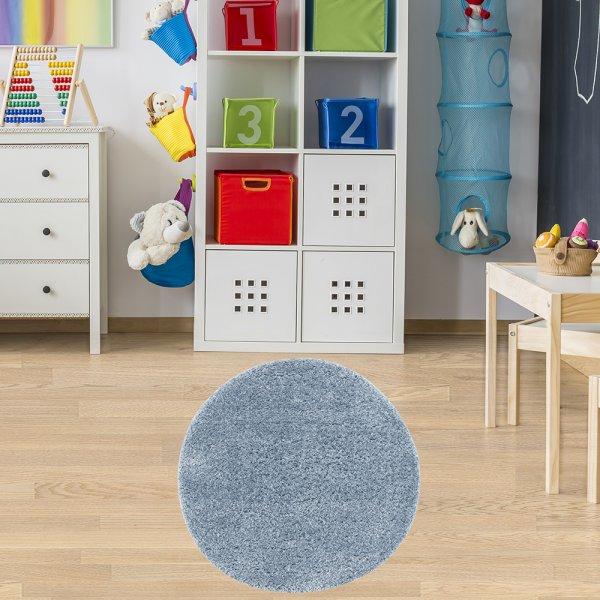 Teppich für Kinderzimmer Rund Blau 133 cm