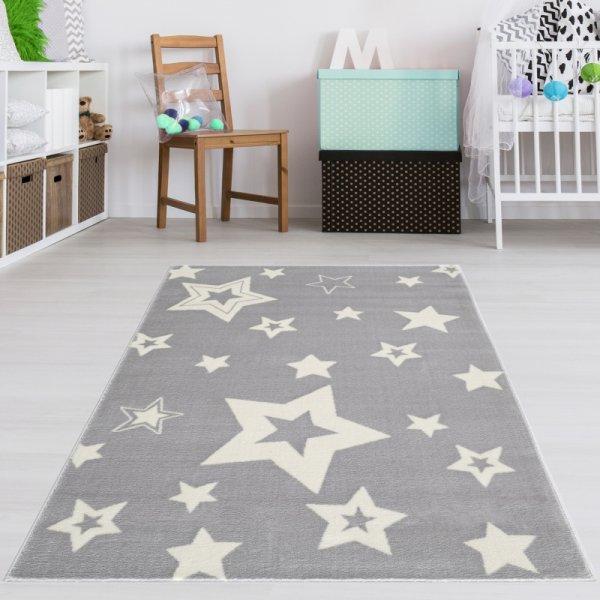 Kinderteppich Sternenhimmel Grau Weiß