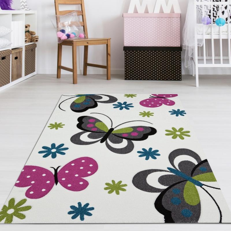 Teppiche & Matten Kinderzimmer Teppich Schmetterling Grün ...