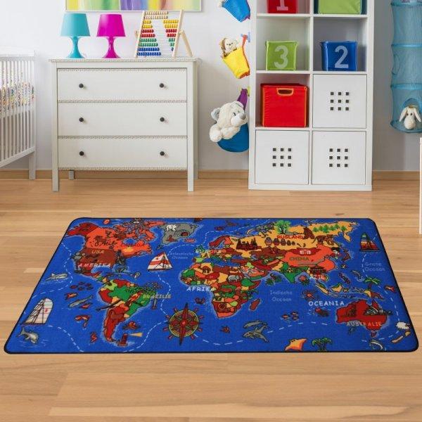 Kinderteppich Weltkarte - Spielteppich mit Welt & Meer