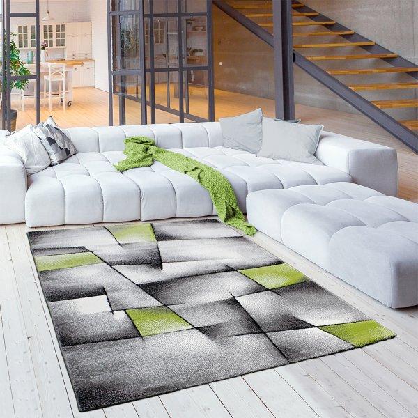 Moderner Jugendteppich Karo Abstrakt Grau Grün
