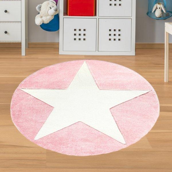 Runder Mädchen Teppich mit Stern Rosa Weiß