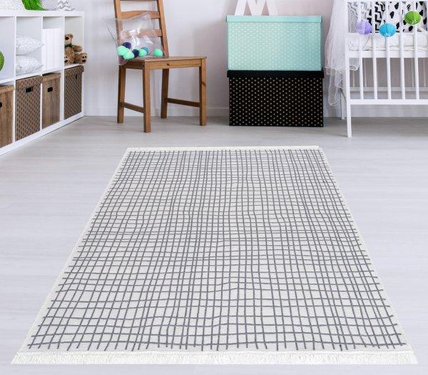 Waschbarer Teppich Piatto DOLCHE grau/weiß